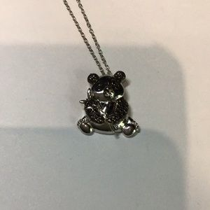 "Sterling silver 19"" panda necklace new"